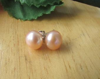 Peach Pearl Earrings,Bridal Gift,Wedding Gift,Bridal Gift,Bridesmaid Gift,Potato Peach Fresh Water Pearl Sterling Silver Stud Earrings