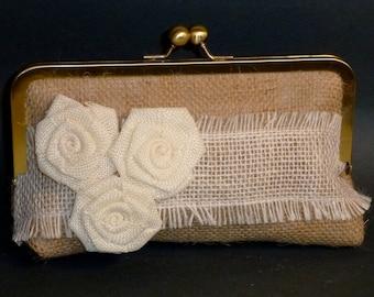 Bridal Clutch or Bridesmaid Clutch Burlap Lace Clutch with 3 Burlap Roses