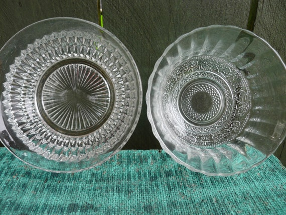 vintage cut glass bowls - set of 2 -  dainty and pretty
