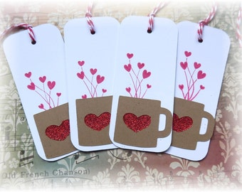 Valentine Heart Coffee Cup tags (4)