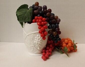 Duncan and Miller Milk Glass Vase with grape/leaf design