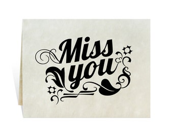 Miss you card black clipart with elegant swirls and leaves, digital download you print, hope care concern love friendship waiting desire.