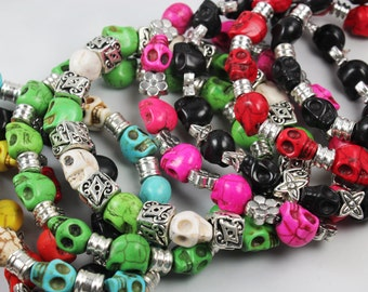 Stretchy Skull Bracelets, All Colors, Color Choice, Beaded Skull Bangle, Howlite Skull Beads
