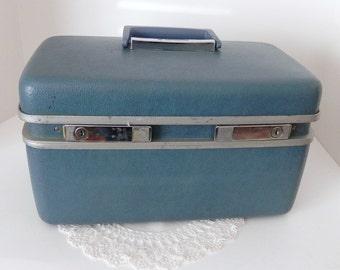 Vintage Samsonite Royal Traveller Luggage - Medalist 1950-60 Blue Train Case