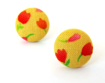 SALE Tiny stud earrings - bright button earrings - funky yellow earrings - fabric covered - pink red orange flowers happy