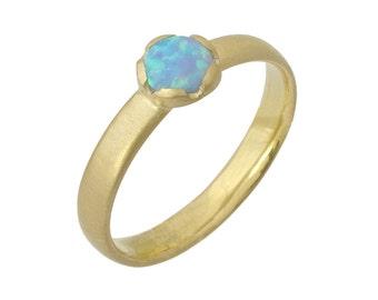 Vintage Matte 5mm Opal Engagement Ring 14k Yellow Gold