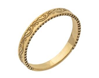 Antique Scrolls Engraved Wedding Band in Rose Gold