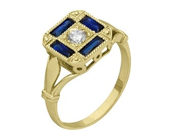Diamond Baguette Yellow Gold Antique Sapphire Engagement Ring
