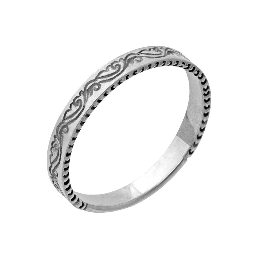 Antique Scroll Bands: Antique Scrolls Engraved Wedding Band In White Gold