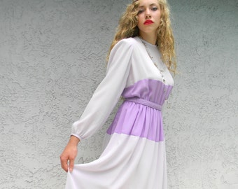 Vintage Princess Dress - Vintage 80s Semi Sheer 9 to 5 Dress in Two Tones of Pastel Lavender Lilac by Designer Hal Hardin - Size 8 Medium M