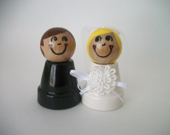 Clay Pot People Bride and Groom Wedding Cake Toppers, Clay Pot Bride and Groom, Bride and Groom Cake Toppers, Made to Order