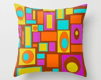Modern Pillow, Modern Throw Pillow, Modern  Brown  Pillow, Mod Pillow, Modern Geometric  Pillow,Retro Pillow,Mod Cushion