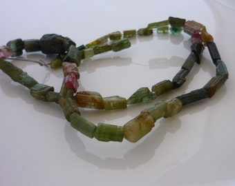 Rustic green & pink tourmaline nuggets tubes beads 4-10mm 1/2 strand