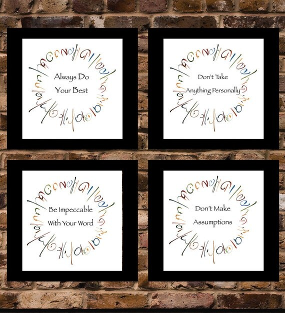 The Four Agreements Set Of 4 5x5 Prints By YourLifeMyDesign