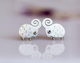 LAMB Stud Earrings Sterling Silver Mini Zoo series