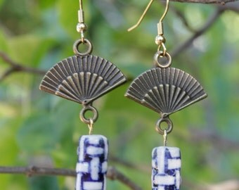 Asian Inspired Fan and Bead Dangle Earrings