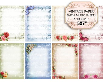 Old paper Vintage French Music Sheets with Roses 5x7 inch Jewelry holders Invitations Scrapbooking craft supply (384) set of 4 sheets