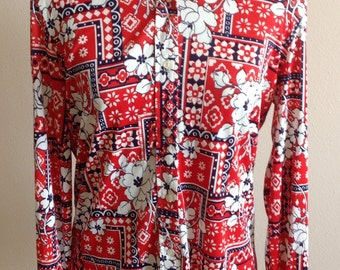 Red White and Blue Vintage Ladies Blouse