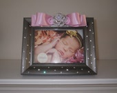 Beautiful Sparkle Embellished Picture Frame. Perfect for Birth Announcements, Newborn Pictures, Wedding Photos, Etc. Customize color & size!