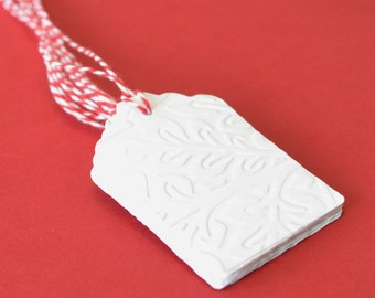Large White Embossed Valentines Tags with Red Twine, 20 Die Cut Tag, Valentines Day Gift Tags, White Die Cuts