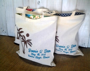 30 LINED Custom Canvas Wedding Welcome Tote Bags - Eco-Friendly Natural Cotton Canvas