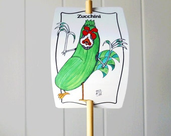 Vegetable Marker Zucchini for Gardens Decor Aluminum Sign Urban Farming Customizable