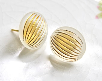 Vintage White Gold Clear Stripe Fluted Round Lucite Post Earrings - Wedding, Bridal, Bridesmaid