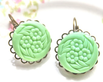 Mint Green Round Floral Etched Lever Back Drop Dangle Earrings- Vintage ,Antique Brass, Scalloped, Wedding, Bridal, Bridesmaid, Beach