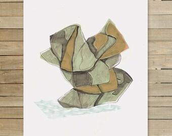 Rock Abstraction I  |  9 x 12 inch art print by Jaime Hernandez | mineral rock art