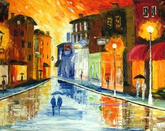 cityscape paintings snow rain painting oil on canvas large contemporary rainy couple winter evening street by Mariana Stauffer Malorcka