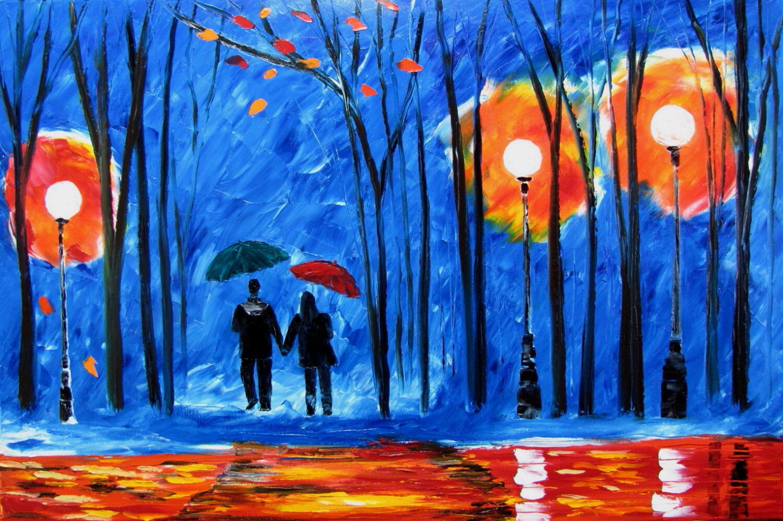 Couple paintings love blue rain rainy park original oil for Peinture mural original