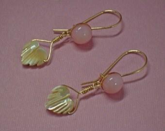 Opalite Earrings - Mother of Pearl Earrings - Peruvian Opalite & Mother of Pearl Hearts Dangle Earrings