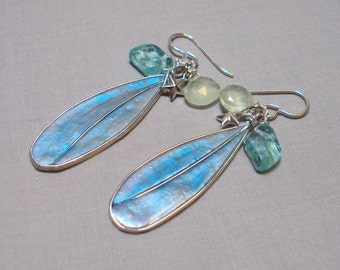 blue green polymer clay dangle fairy wings earrings - fantasy jewelry - fairy wing jewelry- blue fairy wings - blue dangle earrings