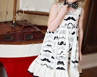 Girls Dress, Mustache Dress, Carnival Party Dress, Girls Circus Dress, Girls Boutique Dress, Birthday Party Dress, Knot Dress