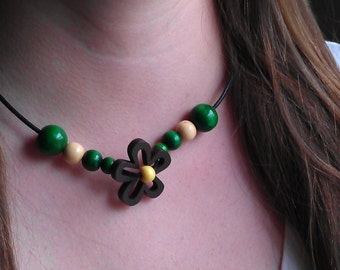 Summertime Flower Necklace - Wood Flower and Beads