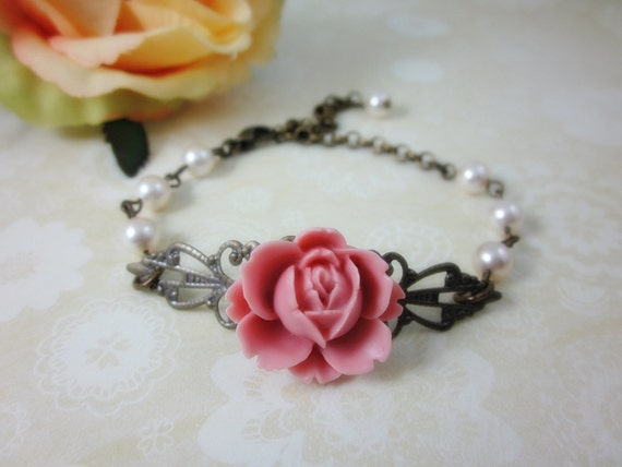 Pink Rose Bracelet. Gift for her. Birthday, Christmas.  Bridal Jewelry. Bridesmaid Gift