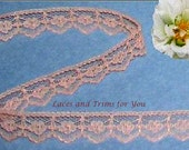 Peach Lace Trim 15 Yards Scalloped Floral 5/8 inch Lot O33 Added Items Ship No Charge