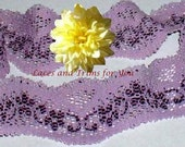 Lilac Purple Lace Trim 7 Yards Stretch 1-3/4 inch wide Lot D24 Added Items Ship No Charge