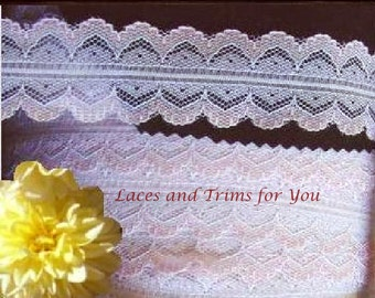 Pink White Lace Trim 10/20 Yards Scalloped 1-3/8 inch wide Lot J50 Added Items Ship No Charge