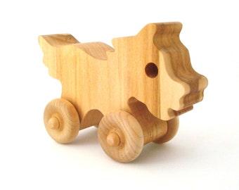 Waldorf Wood Toy Pony Horse Push Toy Basswood Child Safe Rolling Animal Toy