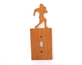 CLEARANCE: Football Player Light Switch Plate Cover Cherry Hand Cut Scroll Saw