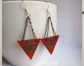 Geometric Earrings, Wood, Laser Etched, Color Corners