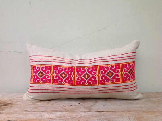 "Retro Homespun Hemp Textile Decorative Pillow Tribal Emboidered Pillow Case 12"" x 22""  Pieces Of Tribal Costume"