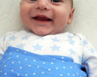 Eco Friendly Blue cotton Swaddle Wrap for Babies - Stars in blue - baby boy sleepsack, receiving Blanket