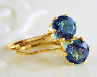Rainbow Topaz Earrings, Gemstone Jewelry, Gold Filled Lever Earwires, Simple Drop Leverback, Free Shipping