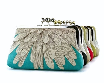 Bridesmaid Clutch, Chrysanthemum Clutch on Turquoise (choose your color) With Silk Lining, wedding clutch, bridesmaid gift
