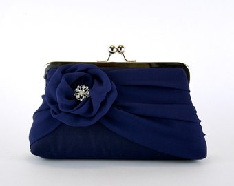 Silk Chiffon Clutch In Navy , Bridal clutch, Wedding clutch, Wedding purse, Bridesmaid clutch