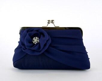Silk Chiffon Clutch In Navy , Bridal clutch, Wedding clutch, Wedding purse, Bridesmaid clutch