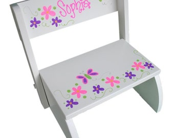 Personalized stool etsy personalized stool white baby gift free shipping gift for girl negle Image collections