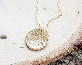 Hammered Disc Necklace, Large Gold Filled Disc Charm, Everyday Necklace, Miinimalist, Simple Necklace, 14k Gold FIlled, Dainty